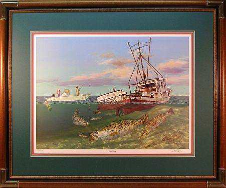 """Shrimp Wreck"" - Redfish and Speckled Trout by artist Randy McGovern"